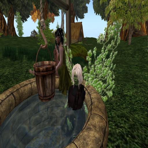 Zab is taking a bath in the well while Eleanor is singing for him.